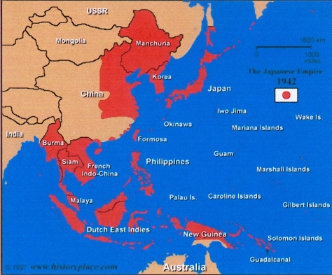 The height of Imperial Japanese control during World War II